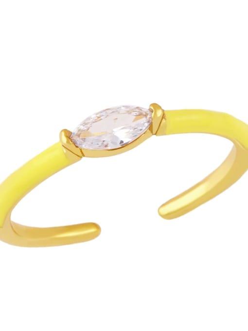 yellow Brass Enamel Cubic Zirconia Geometric Minimalist Band Ring