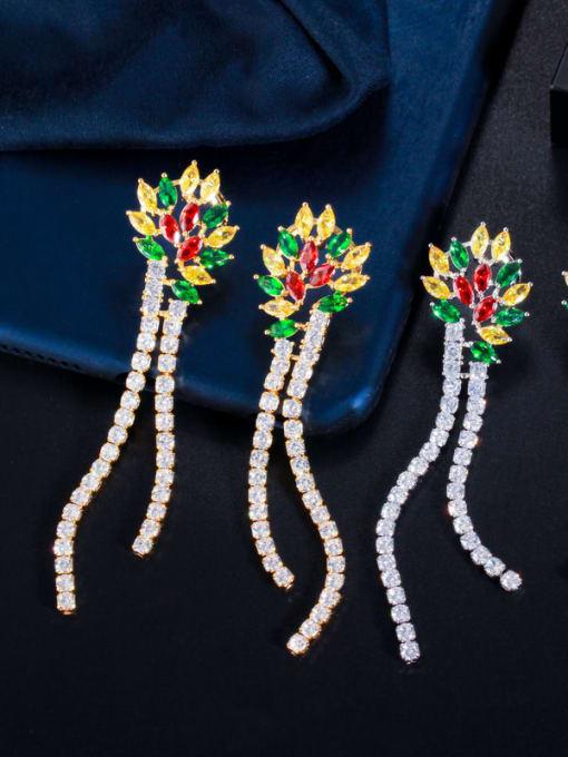 L.WIN Brass Cubic Zirconia Tassel Luxury Drop Earring 4