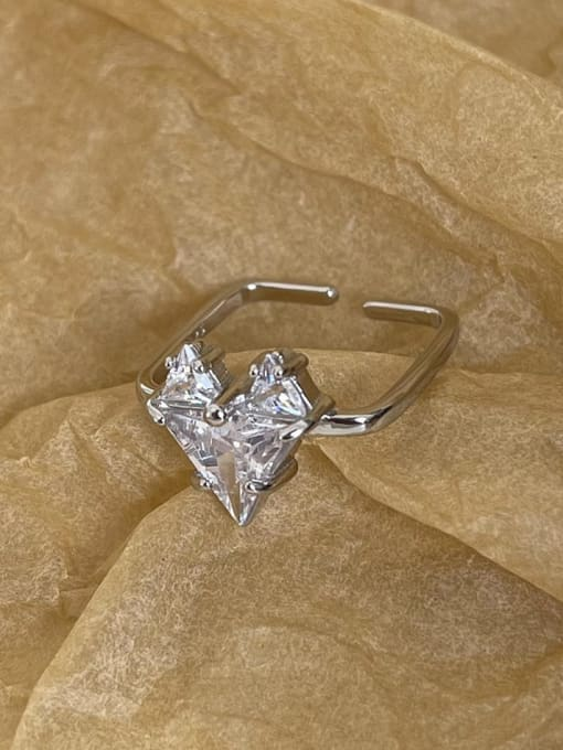 Boomer Cat 925 Sterling Silver Cubic Zirconia Heart Vintage Band Ring 1