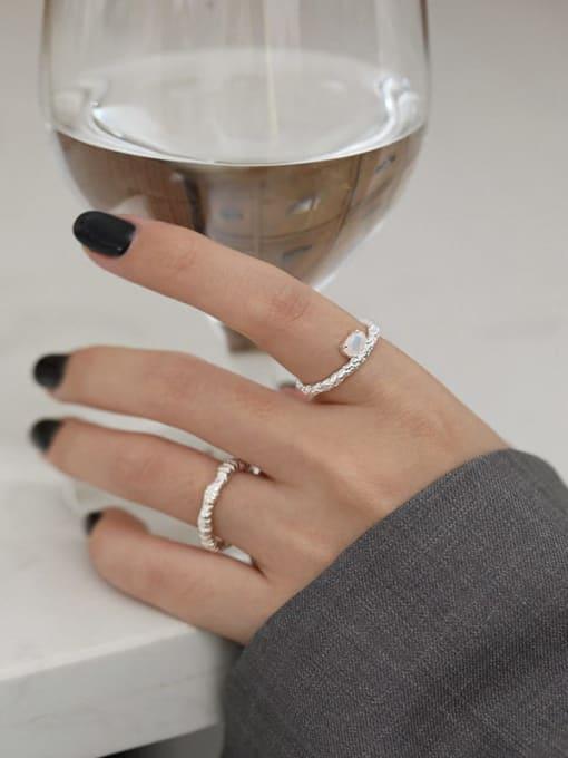 Dak Phoenix 925 Sterling Silver Opal Geometric Minimalist Band Ring 3