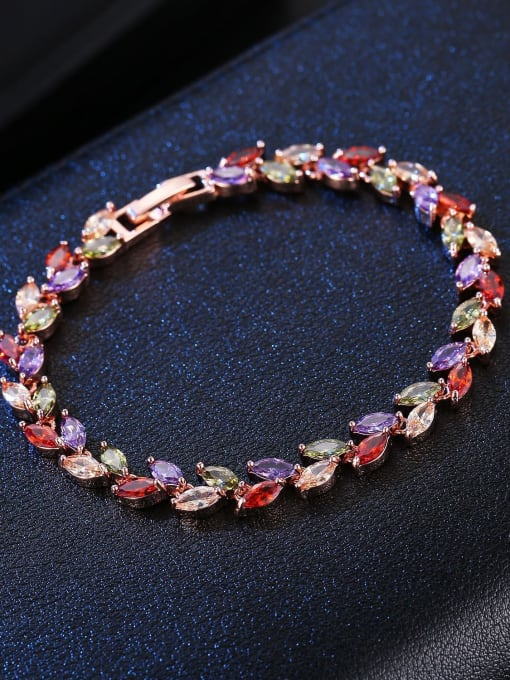DUDU Brass Cubic Zirconia Multi Color Leaf Dainty Bracelet 3