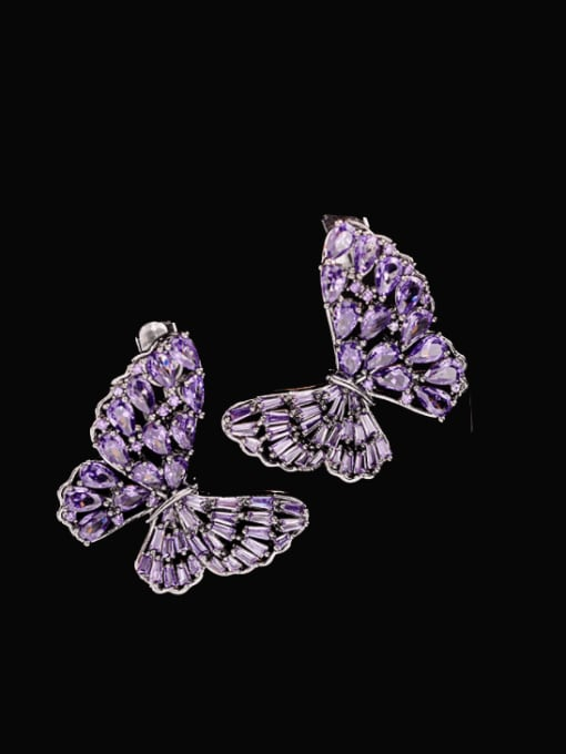 Gun black purple zirconium Brass Cubic Zirconia Butterfly Statement Stud Earring