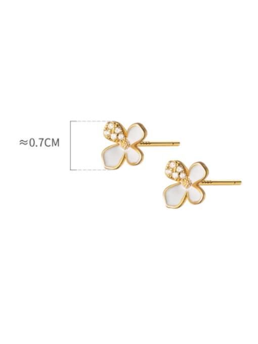 Rosh 925 Sterling Silver Shell Flower Minimalist Stud Earring 2
