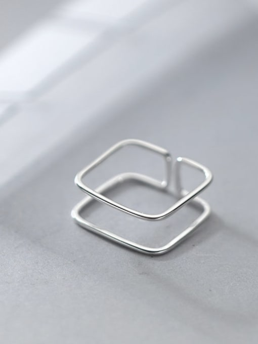 Rosh 925 Sterling Silver Geometric Line Minimalist Band Ring 0