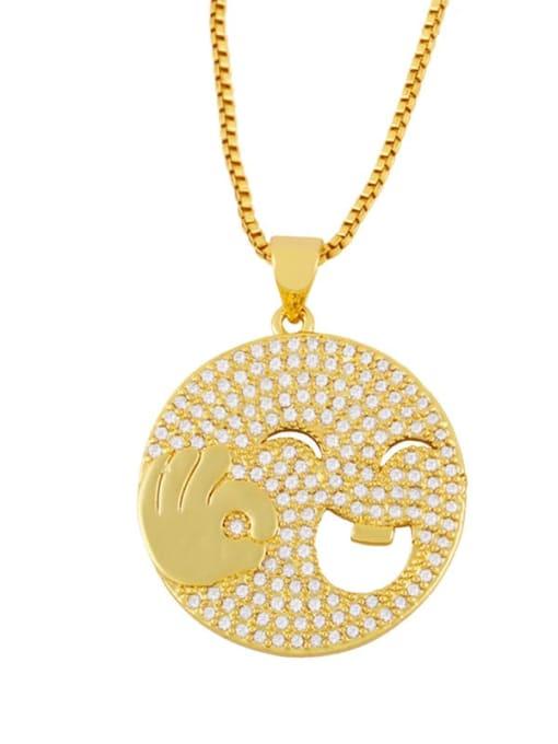 A Brass Cubic Zirconia Smiley Vintage Necklace