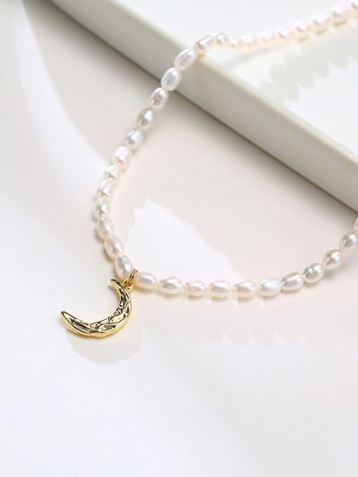 CONG Stainless steel Freshwater Pearl Moon Minimalist Necklace 2