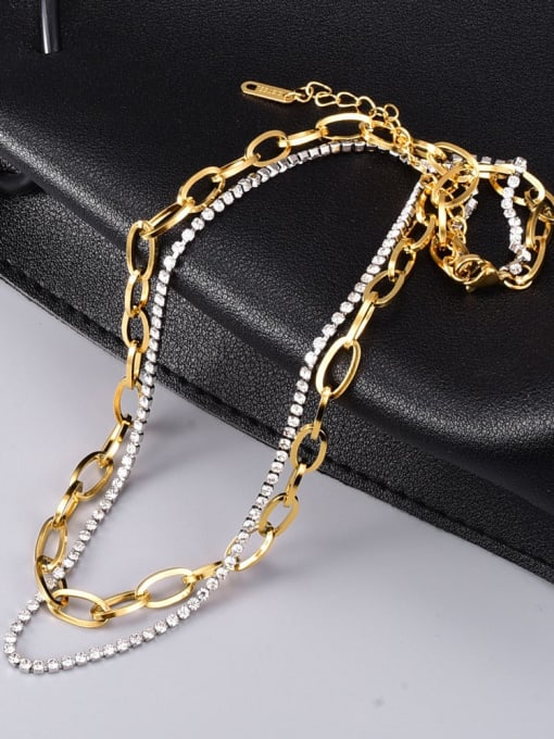 A TEEM Titanium Steel Cubic Zirconia Irregular Vintage Multi Strand Necklace 1