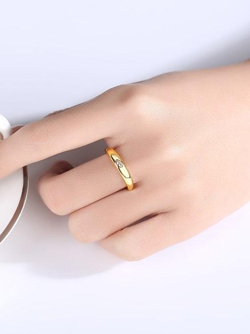BLING SU Brass Cubic Zirconia Geometric Minimalist Band Ring 1