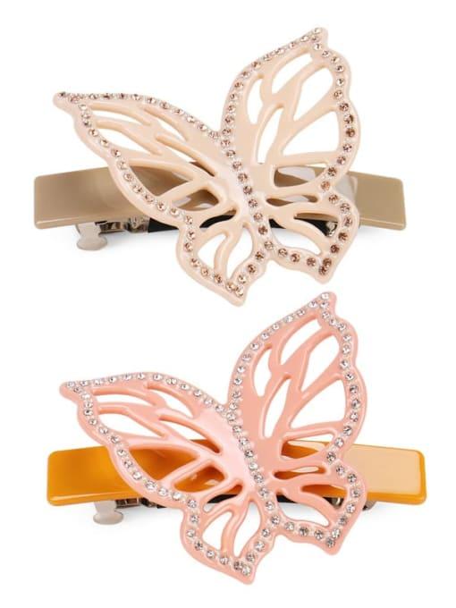 HUIYI Cellulose Acetate Cute Butterfly Zinc Alloy Rhinestone Hair Barrette