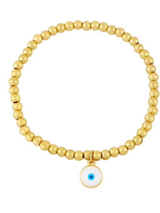 G (white eyes) Brass Enamel Flower Vintage Beaded Bracelet