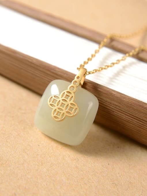 White jade (excluding chain) 925 Sterling Silver Jade Vintage Geometric Pendant