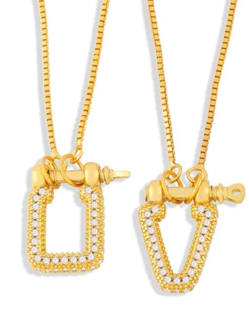 CC Brass Cubic Zirconia Geometric Vintage Necklace