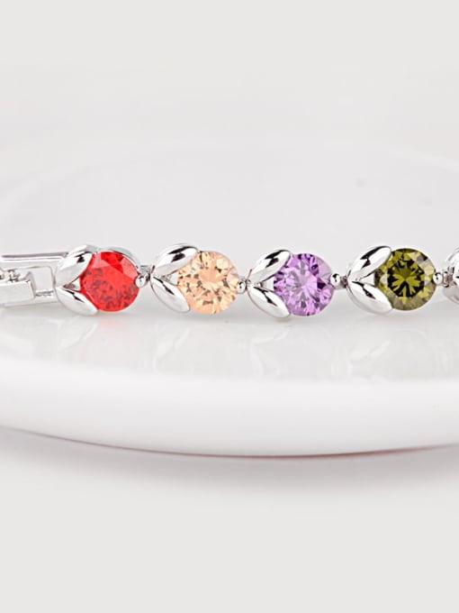 BLING SU Copper Cubic Zirconia Multi Color Geometric Dainty Bracelet 1