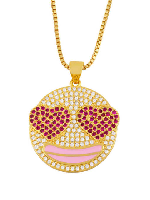 Pink Brass Cubic Zirconia Smiley Hip Hop Necklace