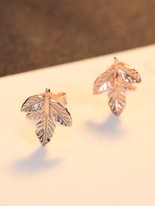 Rose Gold  23B08 925 Sterling Silver Leaf Minimalist Stud Earring