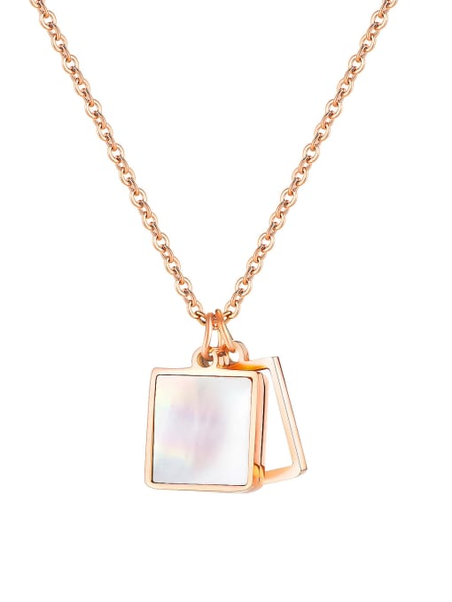 1915 Rose Gold Plated Steel Necklace Stainless steel Shell Geometric Minimalist Pendant