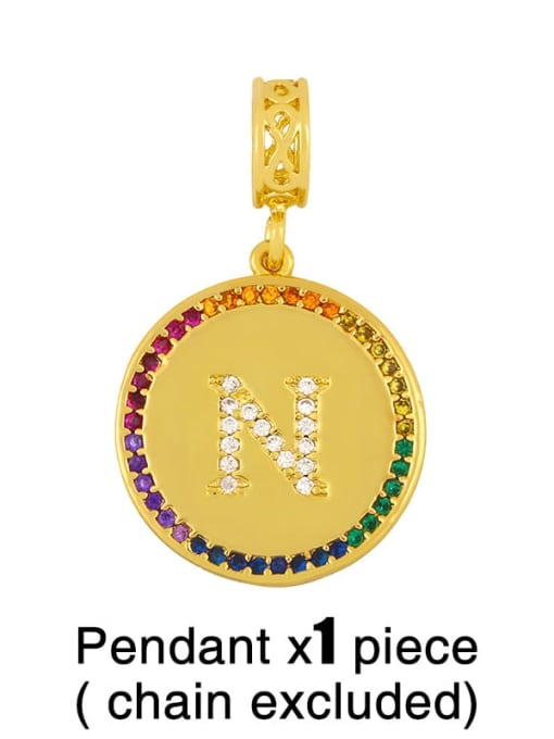 N (excluding chain) Copper Cubic Zirconia Rround Letter Minimalist Pendant