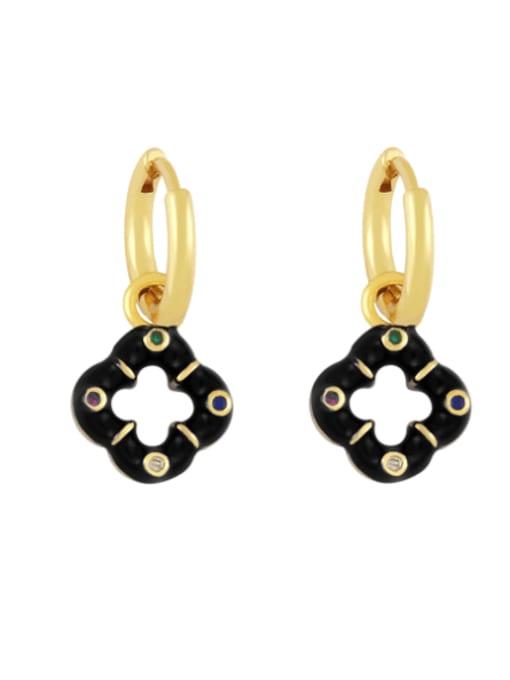 black Brass Enamel Clover Vintage Huggie Earring