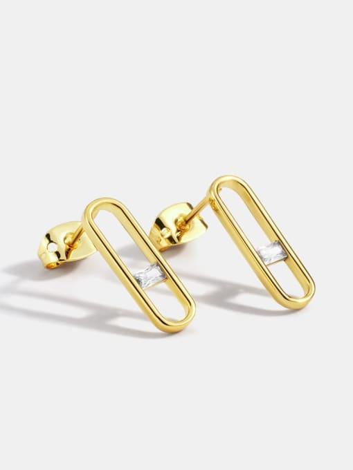 CHARME Brass Rhinestone Geometric Minimalist Stud Earring 0
