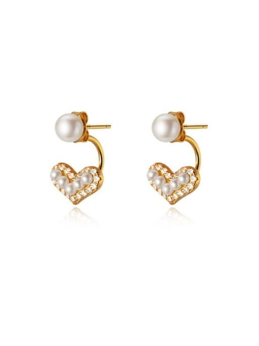 gold 925 Sterling Silver Cubic Zirconia Heart Minimalist Stud Earring