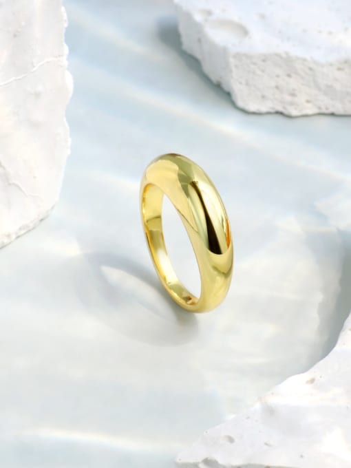 CHARME Brass Smooth Round Minimalist Band Ring 3