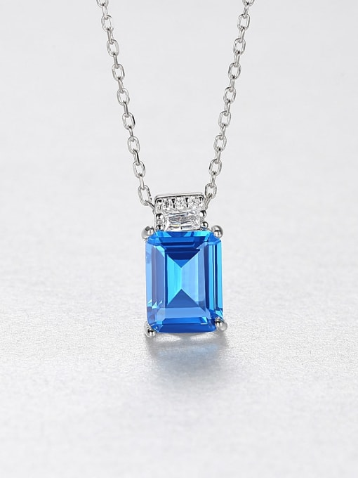 Blue 925 Sterling Silver Cubic Zirconia Geometric Minimalist Necklace