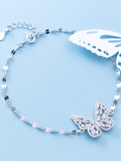 Rosh 925 Sterling Silver Cubic Zirconia Butterfly Dainty Link Bracelet