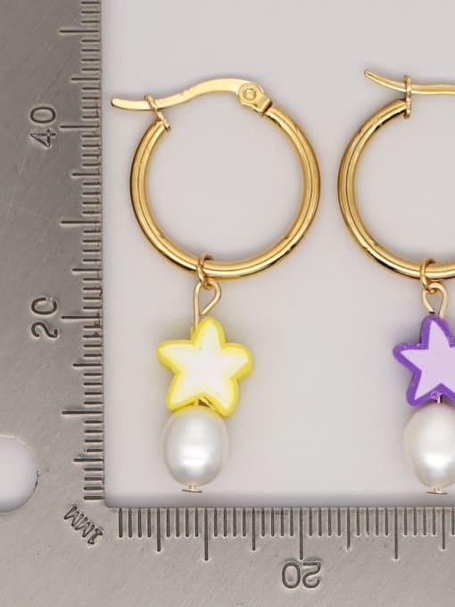 Roxi Stainless steel Freshwater Pearl Polymer Clay Geometric Bohemia Huggie Earring 1