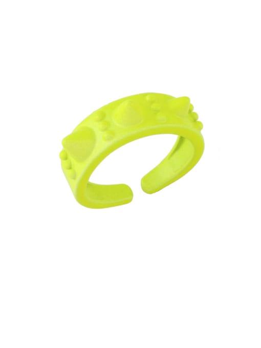 yellow Brass Enamel Geometric Hip Hop Band Ring