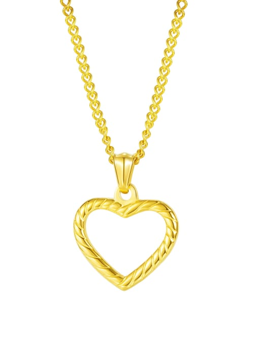 1999  Gold Pendant Chain Titanium Steel Minimalist  Hollow Heart  Pendant