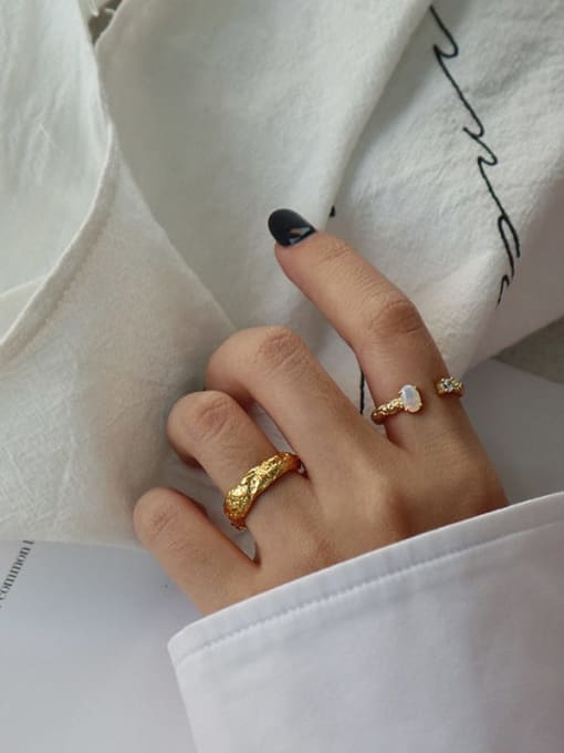 Dak Phoenix 925 Sterling Silver Opal Round Minimalist Band Ring 2