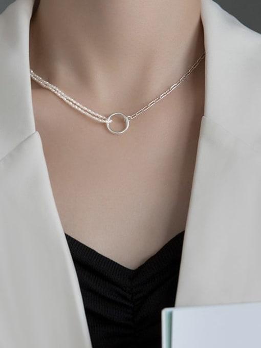 Rosh 925 Sterling Silver Geometric Minimalist  circle asymmetry Necklace 0