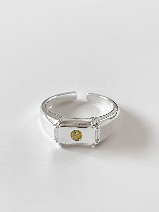 Rectangular ring j1561 3.3g 925 Sterling Silver Geometric Vintage Band Ring