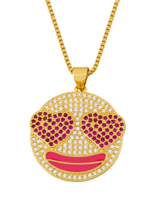 MMBEADS Brass Cubic Zirconia Smiley Hip Hop Necklace