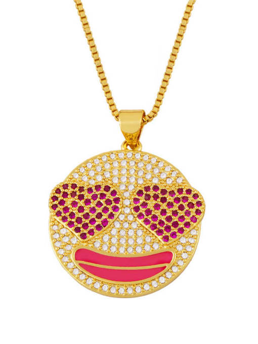 Rose red Brass Cubic Zirconia Smiley Hip Hop Necklace