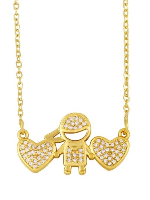 boy Brass Cubic Zirconia Angel Hip Hop Necklace