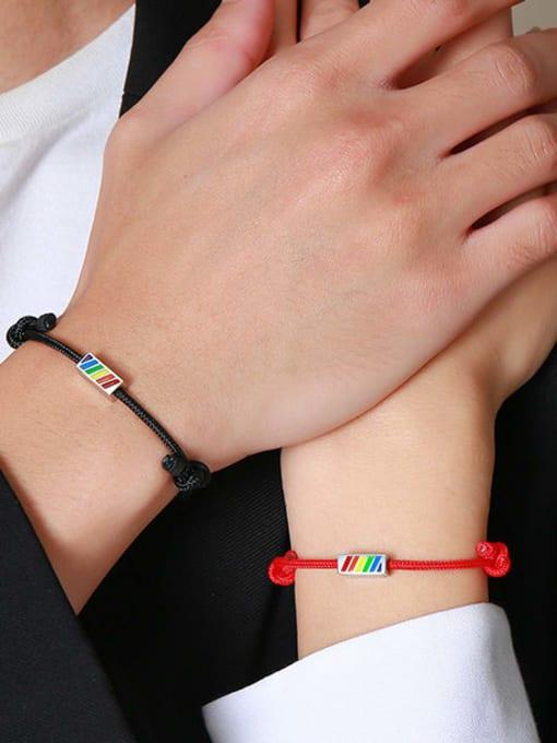CONG Stainless steel Enamel Geometric Minimalist Woven Bracelet 3