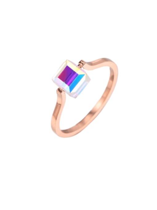 MIYA Titanium Steel Cubic Zirconia Square Minimalist Band Ring 0