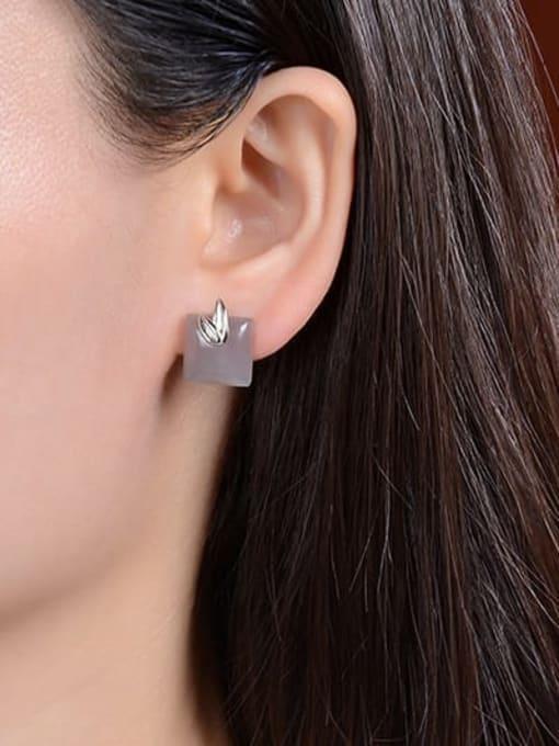 DEER 925 Sterling Silver Jade Square Vintage Stud Earring 2