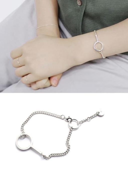 Boomer Cat 925 Sterling Silver Geometric Minimalist Link Bracelet 1