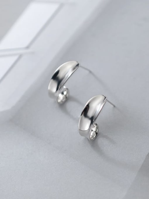 Rosh 925 Sterling Silver Irregular Minimalist Stud Earring