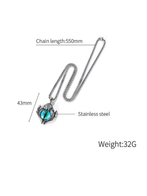 Open Sky Titanium Steel Evil Eye Hip Hop Necklace 3
