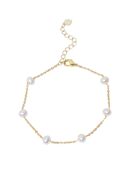 RAIN Brass Freshwater Pearl Round Minimalist Link Bracelet 0