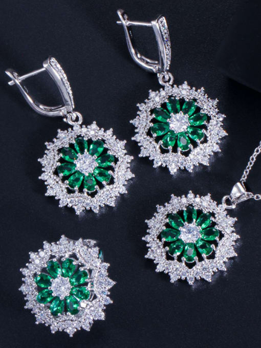 Green Ring Size 7 Dainty Flower Brass Cubic Zirconia Earring Ring and Necklace Set