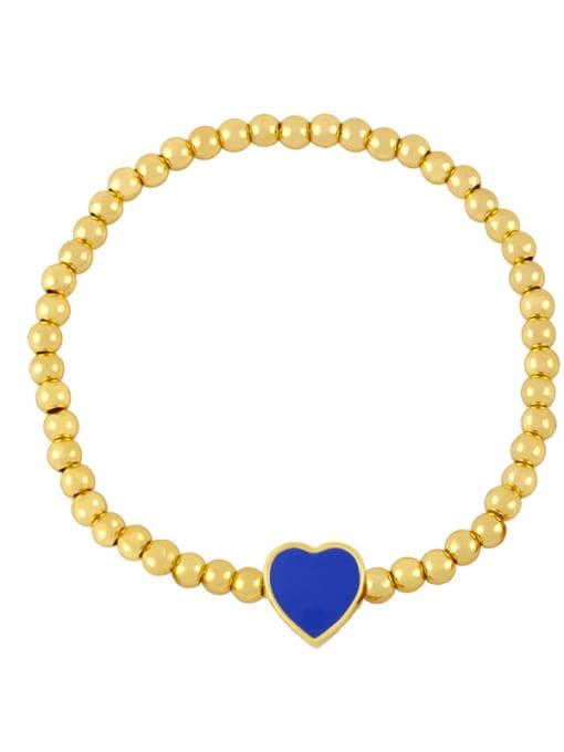 F (dark blue) Brass Enamel Heart Minimalist Beaded Bracelet