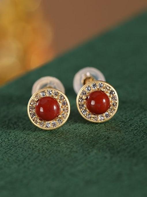 DEER 925 Sterling Silver Carnelian Round Vintage Stud Earring