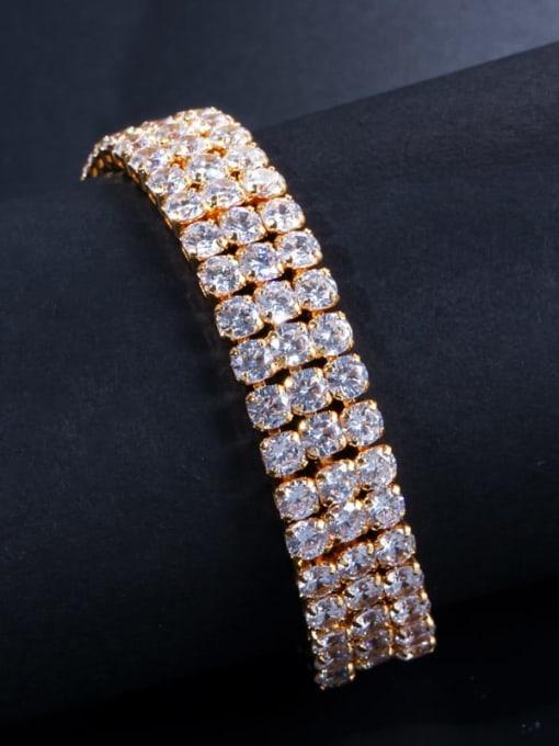 L.WIN Brass Cubic Zirconia Geometric Classic Bracelet 2