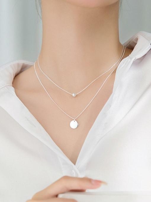 Rosh 925 Sterling Silver Round Minimalist Multi Strand Necklace 1