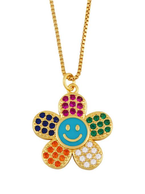 blue Brass Cubic Zirconia Smiley Flower  Minimalist Necklace
