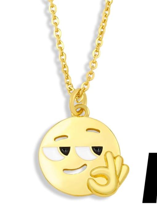 nku95 A Brass Enamel Geometric Hip Hop Necklace